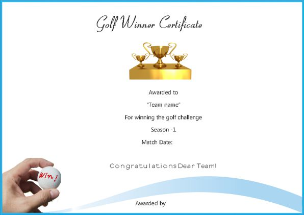 Adorable Golf Certificates For Professional Players Freecustomize 89