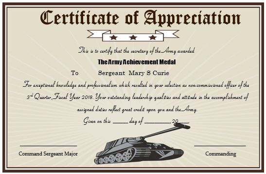 50+ Professional Free Certificate of Appreciation Templates For - military certificate of appreciation template