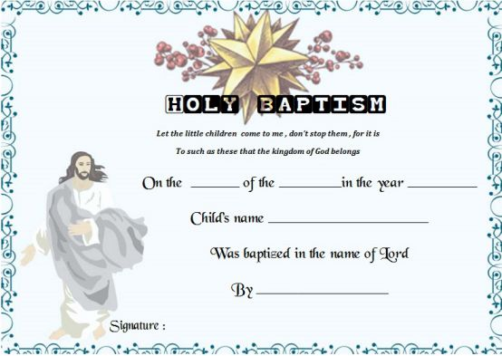 free baptism certificates printable - Towerssconstruction
