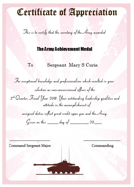 50+ Professional Free Certificate of Appreciation Templates For - army certificate of achievement template