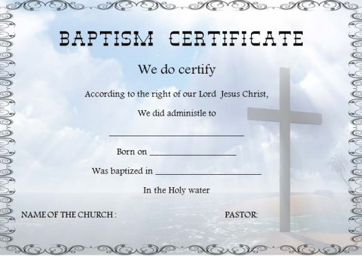 Christian Baptism Certificate Template Image collections - Template - sample baptism certificate template
