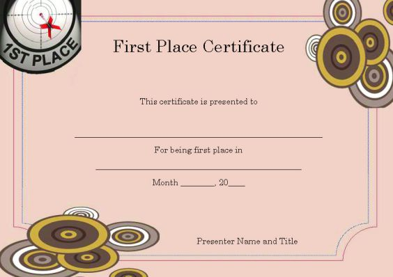 Winner Certificate Template  40+ Word Templates  For Competitions - 1st place certificate template