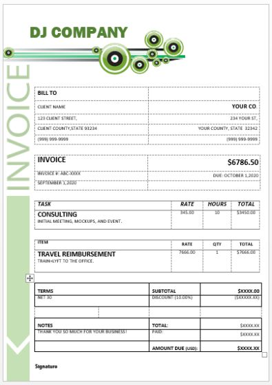 DJ (Disc Jockey) Invoice Template 15+ Templates in Word (doc
