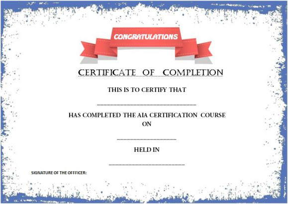 Certificate of completion template  55+ Word Templates Editable - certification of completion template