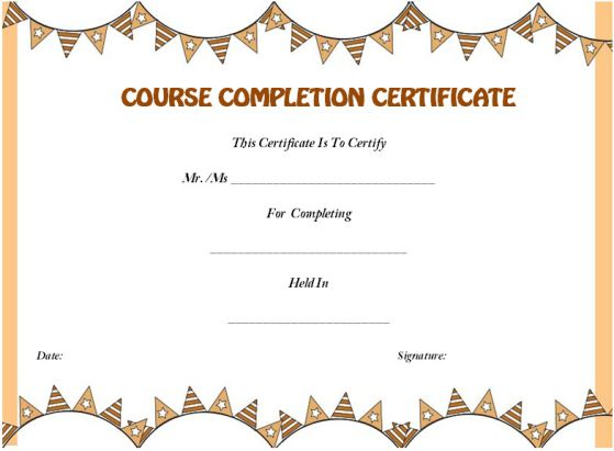 sample course completion certificate template - Towerssconstruction