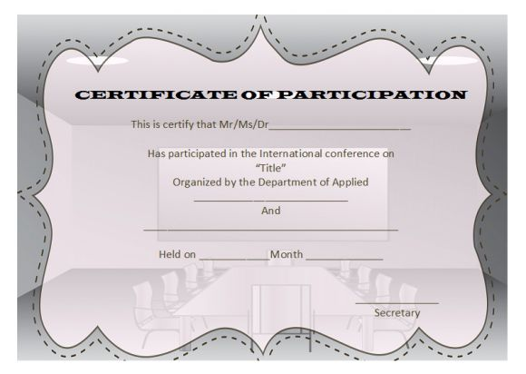conference participation certificate template - Alan - certificate of participation template