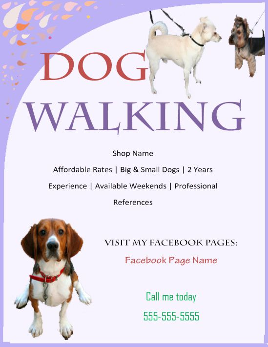 25 Dog Walking Flyers For Small Dog Sitting Businesses (Attractive