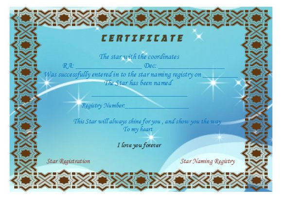 Star Naming Certificate Templates (15+ Free Official Looking
