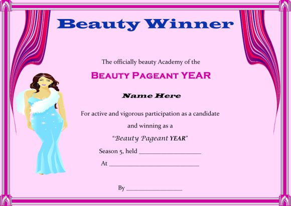 14 Free Pageant Certificate Templates For Your Next