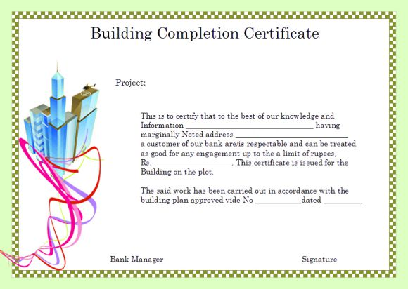 Certificate Of Construction Completion building construction - building completion certificate sample