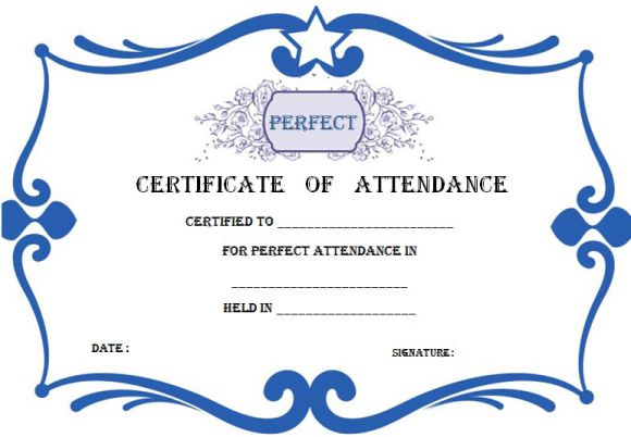 21 Best Certificate of Attendance Templates For Your Events - Demplates - free printable perfect attendance certificate