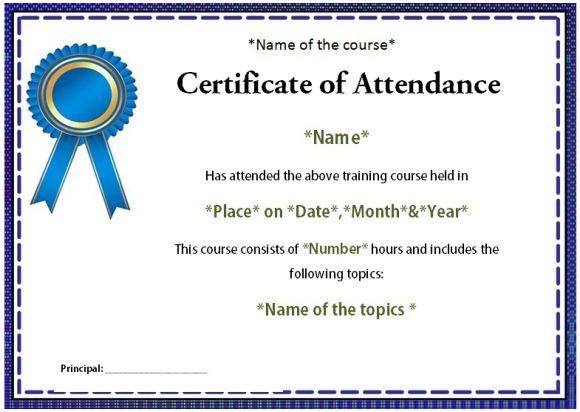 Course Attendance Certificate Template  10+Editable Word Templates - attendance certificate template free