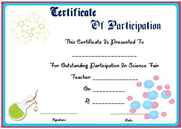 Science Fair Participation Certificate  11+ Free Editable Awards in