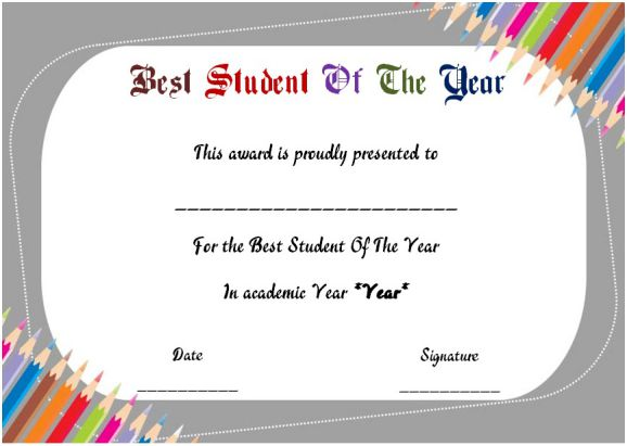 Student of the Year Award Certificate Templates 20+ Free to