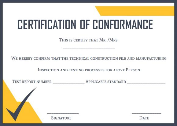 Certificate of Conformance Template 10 High Quality Samples