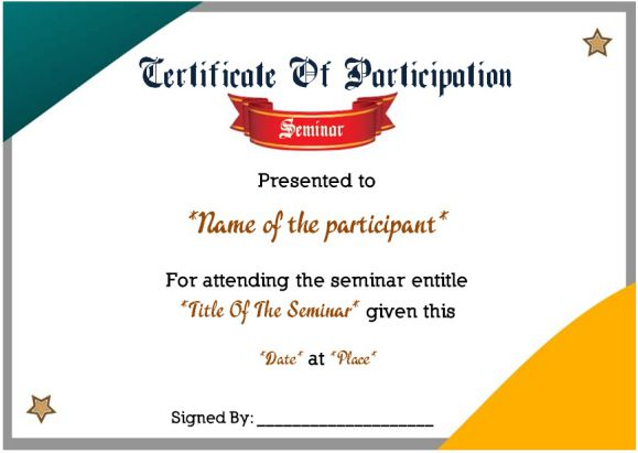 Sample Certificate of Participation in Seminar 12 Certificates Free - certificate of participation format