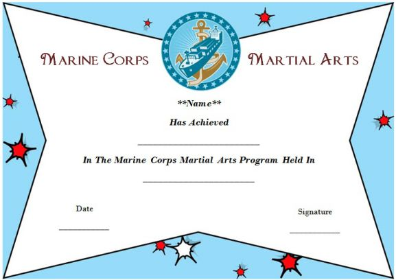 Marine Corps Martial Arts Certificate Template - Demplates
