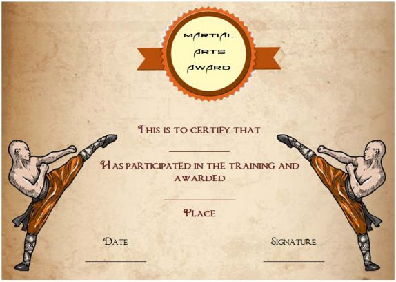 Martial arts award certificates\u2013 20 + Different Templates for you to