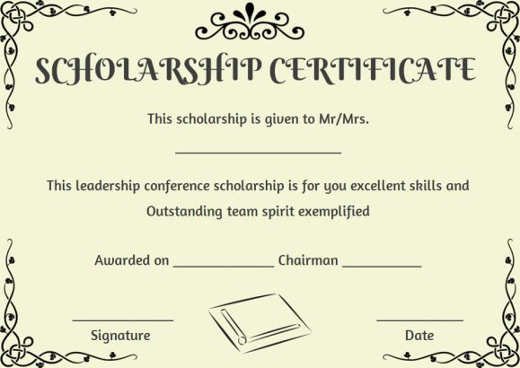 Scholarship Certificate Template 11 Professional Templates - Demplates - sample scholarship certificate
