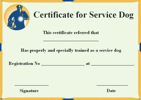 Service Dog Certificate Template  10+ Word Templates (For Trained - Certification Templates