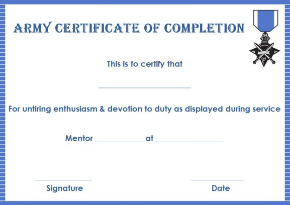 Certificate of Completion 22 Templates in Word Format - Demplates - army certificate of training template