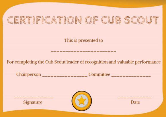 cub scout certificate of appreciation template - Pinarkubkireklamowe