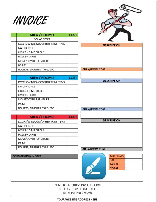 Painter Invoice Template 6 Free Invoice Templates in Word - Demplates - free invoicing templates