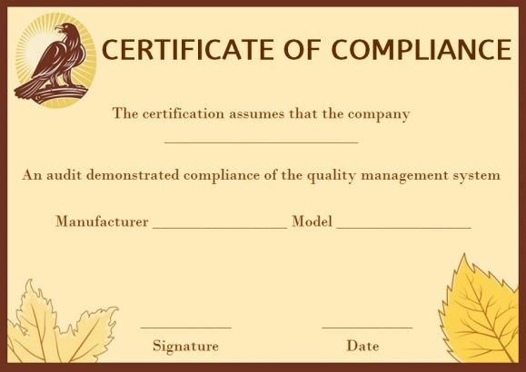 16 Downloadable and Printable Certificate of Compliance Templates - certificate of compliance template