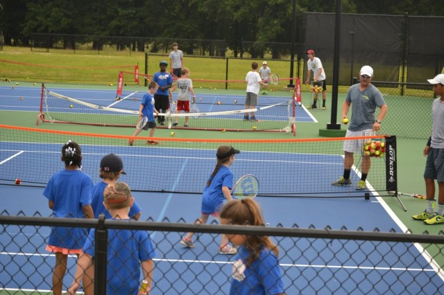 Tennis is one of the sports offered at First Baptist Church's Mega Sports Camp at BNA Bank Park's Tennis Complex this week. Photo by Dennis Clayton.