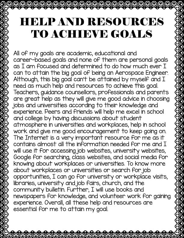 After High School Goals Chart - Dency\u0027s Portfolio