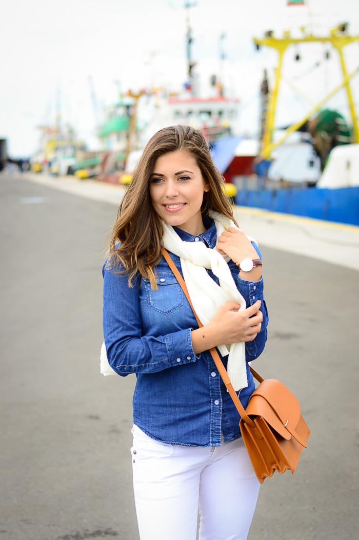Denim Shirt White Jeans Harbour Girl Nessebar Denina Martin Bulgarian Fashion Blogger
