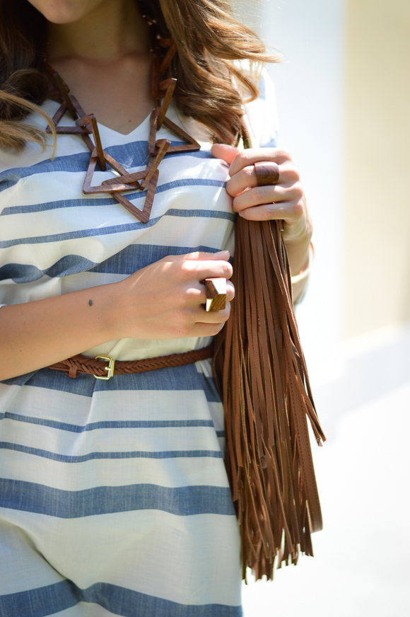 Fringe Bag and Wooden Jewelry Styled by Bulgarian Fashion Blogger Denina Martin