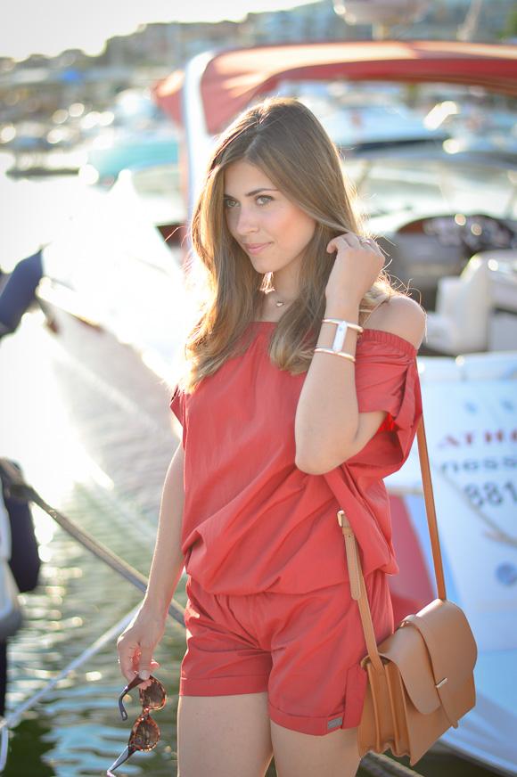 Denina Martin wearing red rusty jumpsuit at Marina Dinevi