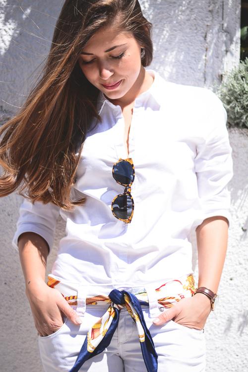 Denina Martin Wearing All White Clandestino Veneto Sun Glasses