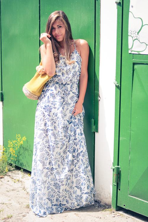 Pepe Jeans London Floral Blue Maxi Dress and Denina Martin