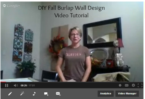 utube1 DIY Fall Burlap Wall Designs