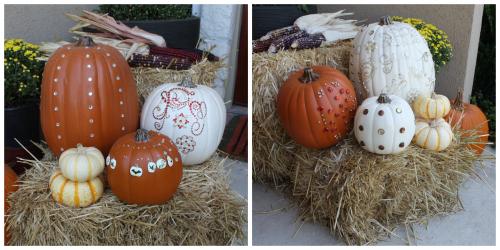 fall porch blinged pumpkins