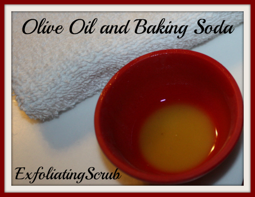 olive oil and baking soda exfoliating scrub