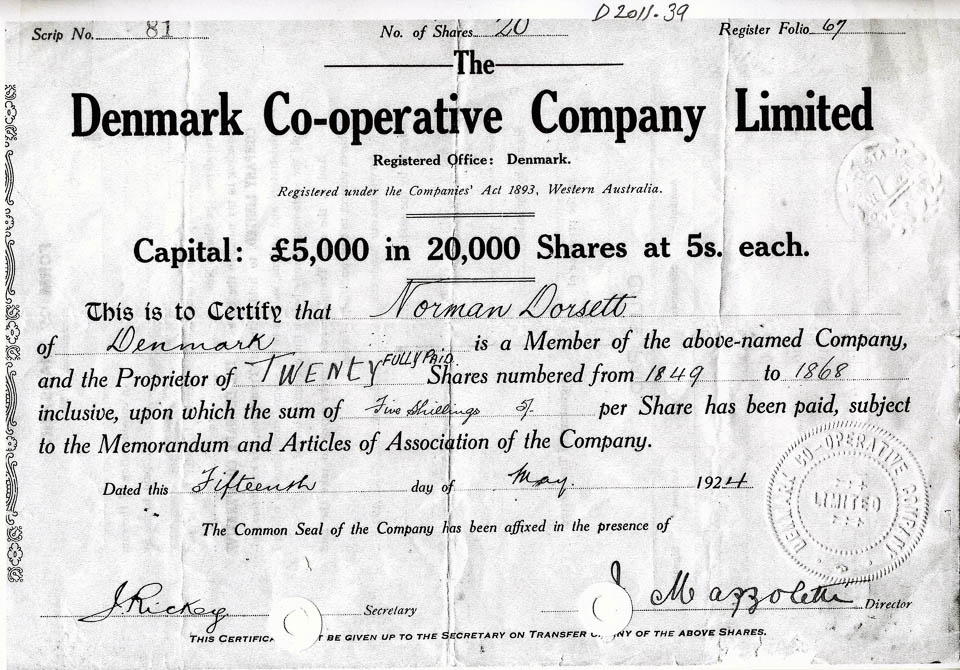 Denmark Co-operative Company Ltd share certificate 15 May 1924 - Company Share Certificates