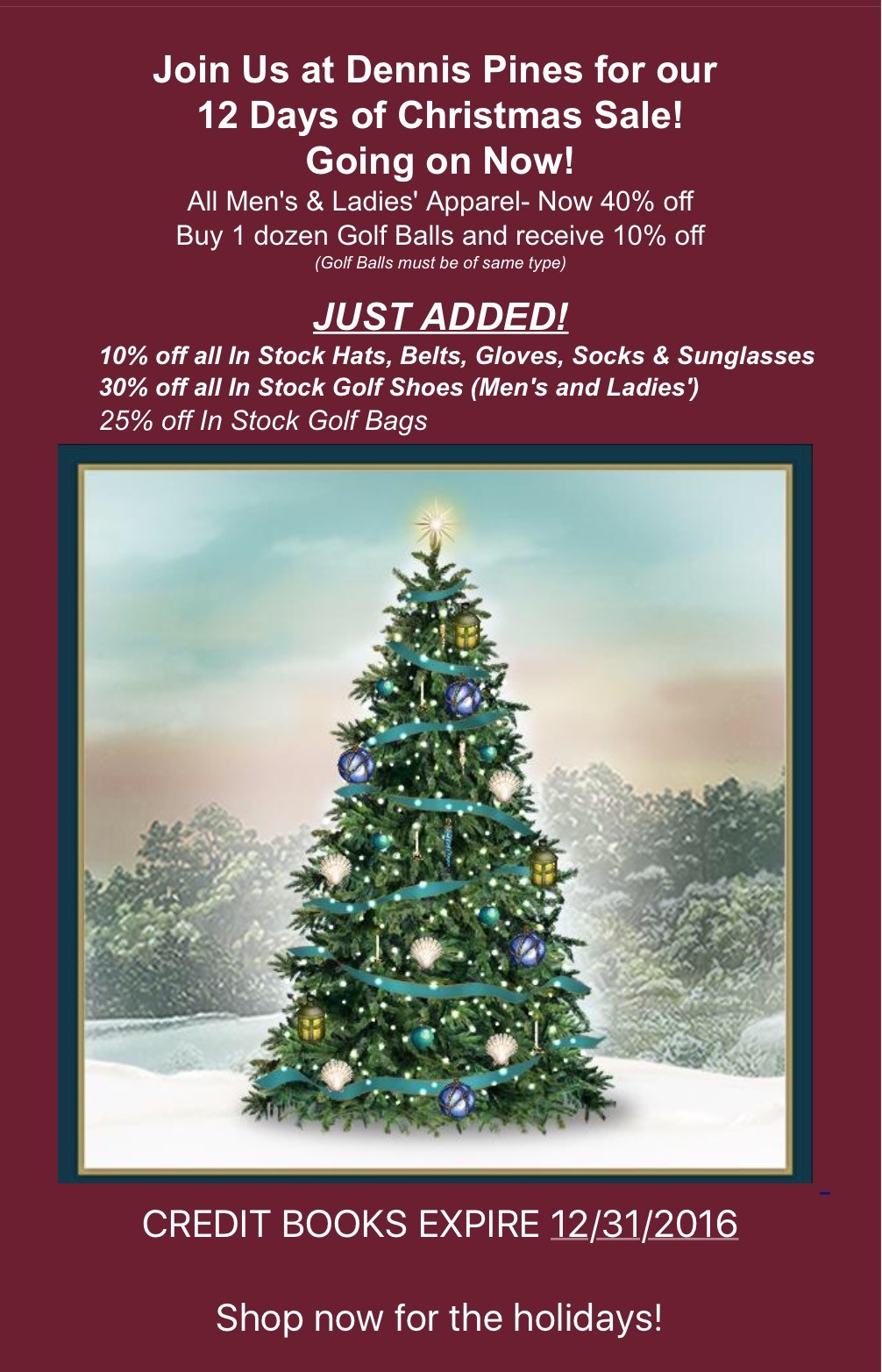 Dennis Golf 12 Days Of Christmas Sale Dennis Golf Courses Dennis Pines Dennis Highlands Ma