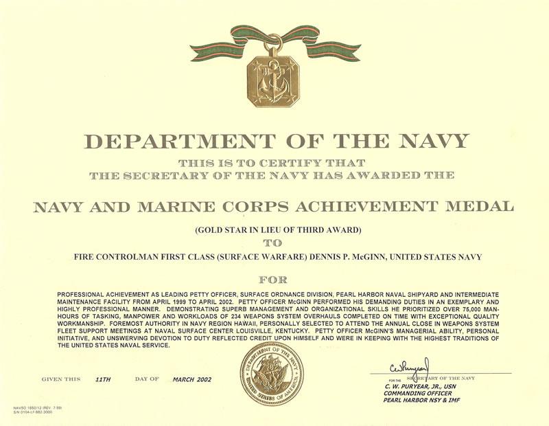 Certificate Of Commendation Usmc Template - mandegarinfo
