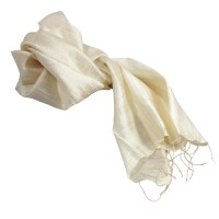 Ivory Raw Silk Scarves