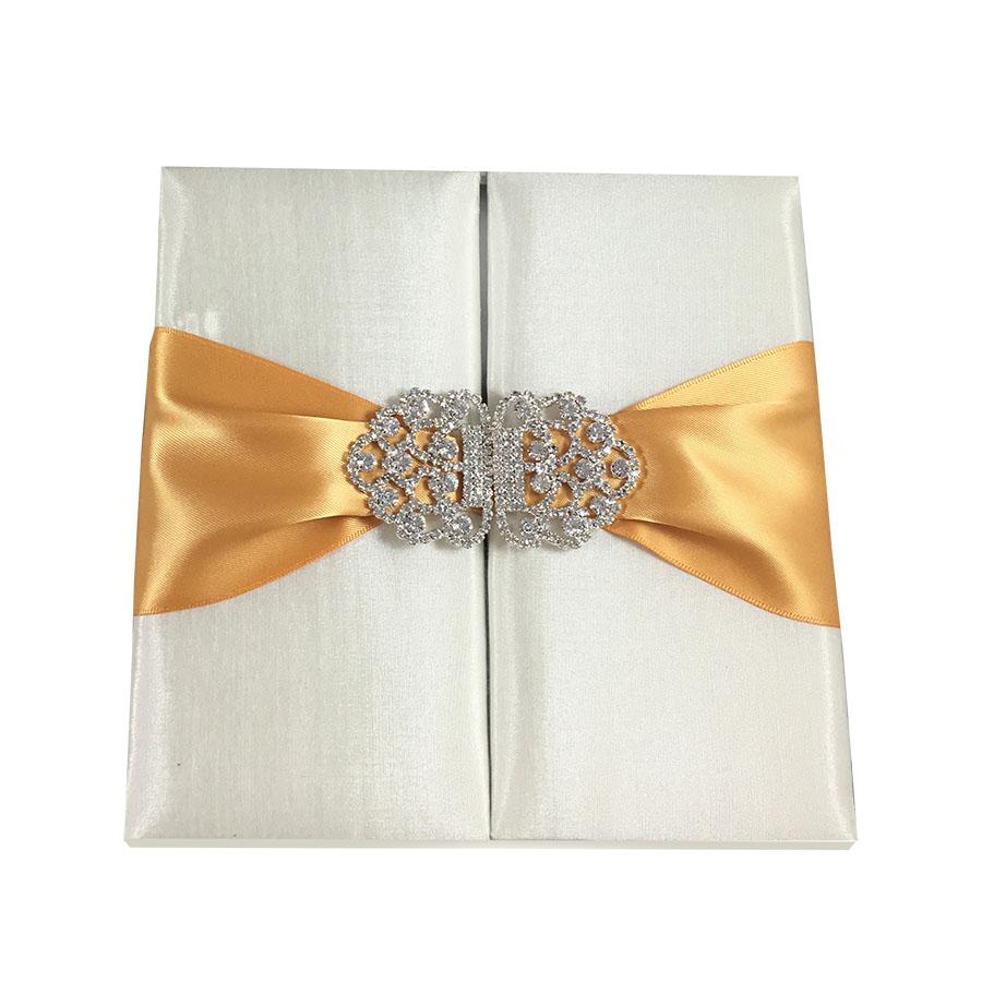 Ivory Invitation Box Crystal Clasp Embellishment With