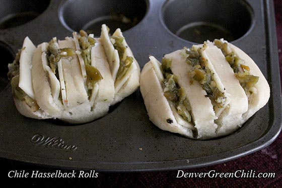 Chili Cheese Hasselback Rolls - before baking