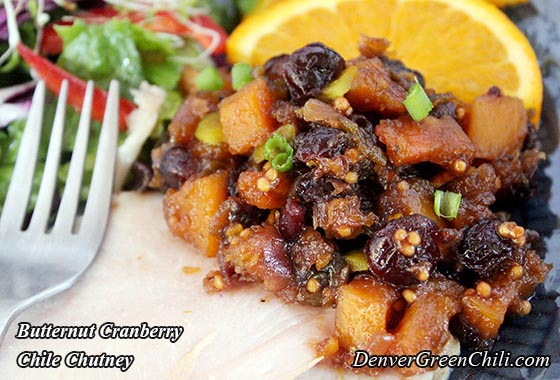 Butternut Squash with Cranberries and Green Chiles
