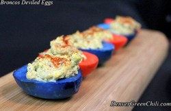 Blue and Orange Deviled Eggs