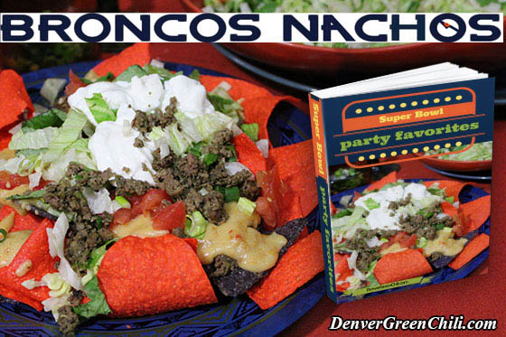 Broncos Nachos on orange and blue tortilla chips