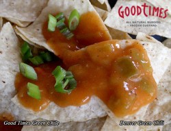 Good Times shared their recipe for green chile with me - an easy, spicy recipe that makes a great green chile sauce for smothering anything - burritos, chicken, fries, tater tots, whatever. Use it inside a burrito or smother it - one of the best green chiles for smothering.
