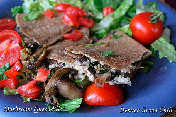 Mushroom Quesadilla  is a scrumptious appetizer or main dish with just the right amount of green chile heat. Make a batch of the filling and quickly assemble the quesadillas for an awesome treat.