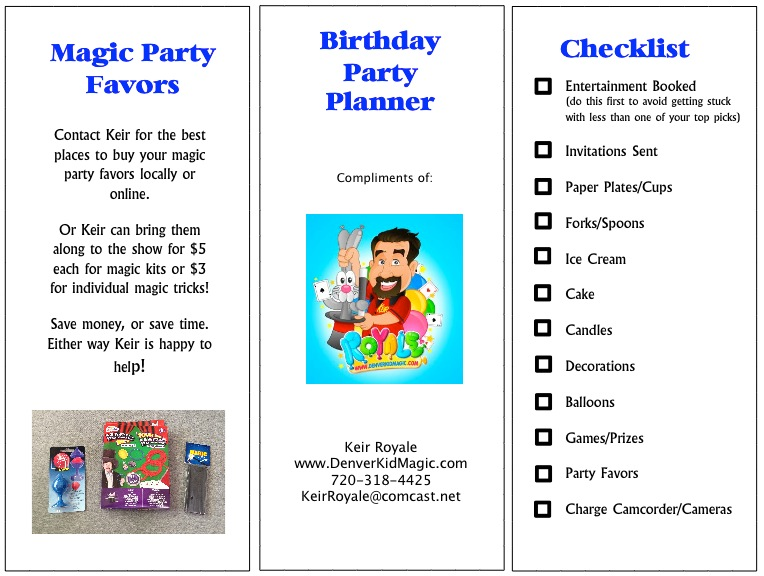 Free Printable Birthday Party Planner - Denver Magician for Kid\u0027s
